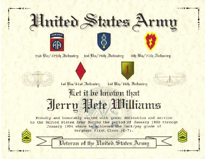 US Army Career Commemorative Certificate, US Army Affiliation ...