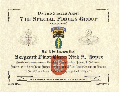 Special Operations Forces Commemorative Certificates, US Army ...