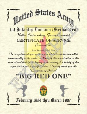 Certificate of Service Design.