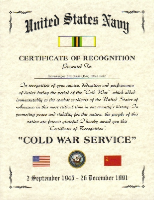 Cold War Commemorative Certificates, US Army Affiliation ...
