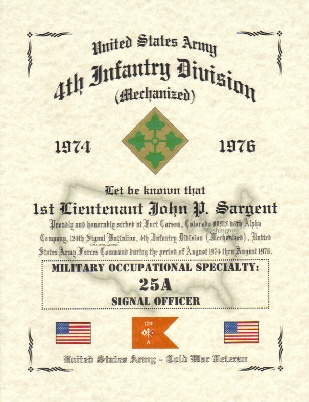 US Army Affiliation Certificates, Military Certificate, Military ...