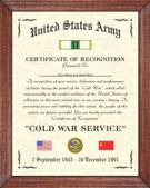 US Army Cold War Certificate Image