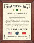 US Air Force Cold War Certificate Image