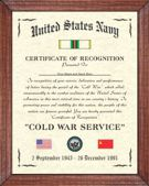 US Marine Corps Cold War Certificate Image